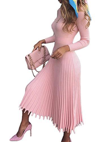 Minetom Damen Cocktail Festlich Hochzeit Party Kleid Langarm Winter Pullover Strickkleid Sweatkleid Elegant Midi Plissee Abendkleid Rosa 34