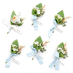 Ling's moment Boutonniere for Men Wedding Best Man Flower Boutonniere Set for Anniversary Wedding Ceremony Engagement
