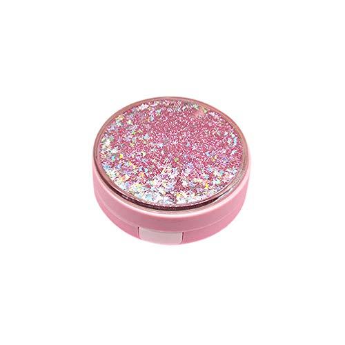 Healifty Tragbare Kontaktlinsen-Etui-Set Glitzer-Stern Mond Herz-Kontaktlinsen-Reisetasche mit Pinzette Flaschenspiegel (Pink)