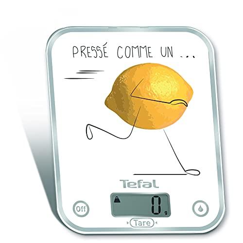 Tefal OPTISS Decor Pressé comme Un Citron Balance de Cuisine Graduation de 5kg/1 g Fonctions Liquide-Tare BC5135V0