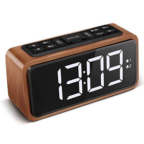 KOOSIN FM Radio Alarm Clock, Large LED Display Wood Digital Alarm Clock,...