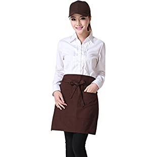 Half-Length Apron,Unisex Bust Apron Simple Useful Strap Fastening Restaurant Cafes Kitchen Wear(Coffee):Wenstyle