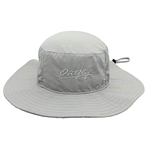 Ala ancha, borde suave, de secado rápido pescador sombrero, anti-ultravioleta Pesca Cap, al aire libre Senderismo Sombrero de sol, respirable, Delgado, hombres y mujeres de ala grande,Gris