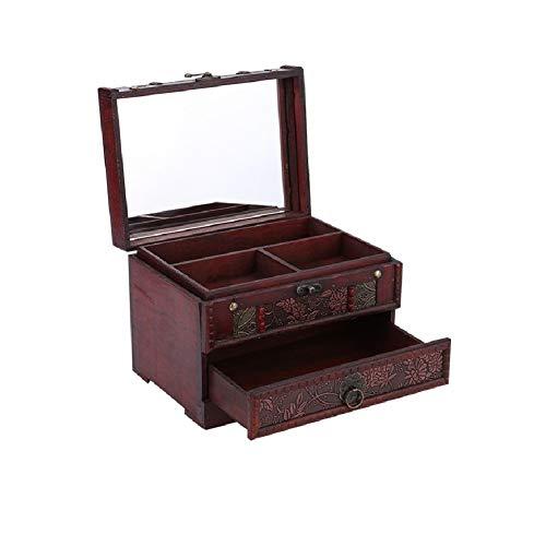 Caja Joyero, Caja para joyerías Organizador, 1pcs Caja de almacenamiento de joyería clásica de madera, Organizador de pecho con espejo