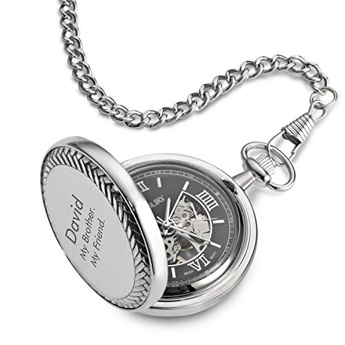 Things Remembered Personalized Braided Border Skeleton Pocket Watch with Engraving Included