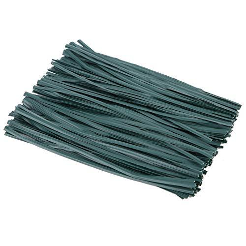 Cosiki 150 Piezas de Superficie Brillante y Lisa Verde 15 cm / 5,91 Pulgadas Soporte de Planta, Lazo de Planta, jardín para Plantas de fijación de Tierra de arbustos Enredaderas
