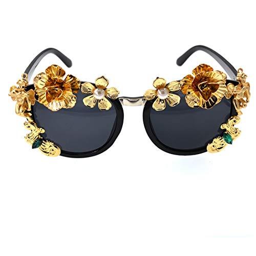 ZhangC Zonnebril, persoonlijkheid, mode, retro metalen bloemen-dames-parels, zonnebril, blokkering, schadelijk licht, UV-bescherming voor autorijden, reizen, zomer-strand, zwarte lenzen