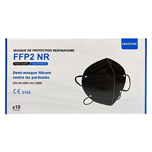 CRAZYCHIC - Mascarilla FFP2 Negra Homologada Certificada CE EN149 - Mascarilla de Protección Respiratoria - Protectora Respirador Antipolvo - 5 Capas Alta Filtración - Paquete de 10 Piezas