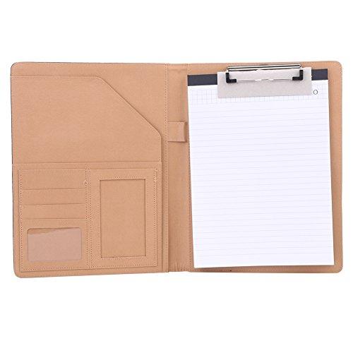 PU Leather Business Portfolio Curriculum Cartella Multifunzionale A4 Office Folder Organizer per Conferenza File Layout Clip Firma Accordo (marrone)