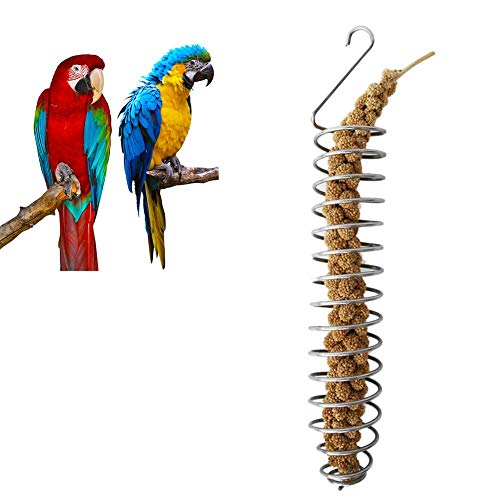 Papagei Vogel Futterkorb, Obst und Gemüsehalter Edelstahl Papagei Hängend Obst Feeder Gemüse Hirse Halter Vögel Käfig Füttern Zubehör Weizen Ohr Obst Gemüse Feeder Hängende Spirale Vogelhäuschen