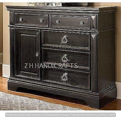 Z H Handicrafts Carved Sheesham Wooden Cabinet Multipurpose Usage Drawers & Door Sideboard Walnut