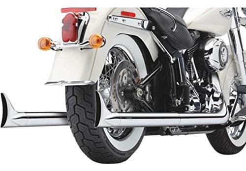 TRUE DUALS EXHAUST SYSTEM CHROME WITH FISHTAIL TIPS MARMITTE SCARICHI COBRA PER Moto Harley Davidson SOFTAIL