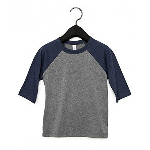 Bella+Canvas Kinder 3/4 Ärmel Baseball T-Shirt (S) (Grau/Marineblau Triblend)