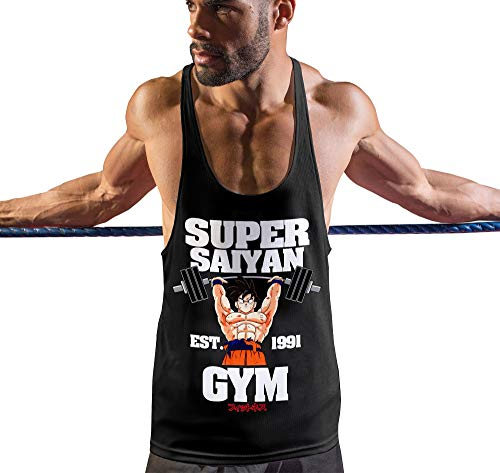 Stylotex Stringer Fitness Tank Top Super Saiyan Gym est. 1991 Herren Gym Tshirts für Performance beim Training | Männer ärmellos | Funktionelle Sport Bekleidung, Größe:S, Farbe:schwarz