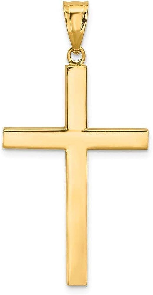 14K Yellow Gold High Polish Finish Plain Cross Pendant