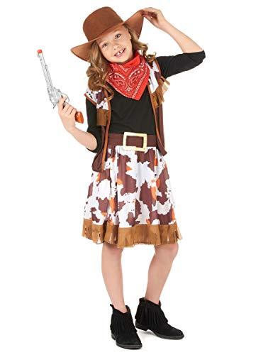 KULTFAKTOR GmbH Cowgirl Kinder-Kostüm braun-rot-Weiss 134/140 (10-12 Jahre)