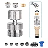 Blissvent 4 Pieces Garden Hose Adapter Kit Faucet Adapter Kit, Multi-Thread Sink to Hose Adapter Water Filter Adapter Female to Female/Male to Female, Swivel Faucet Aerator Adapter Water Hose Adapter