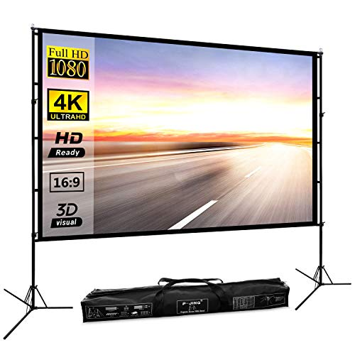 Projector Screen with Stand 100inch Portable Projection Screen 16:9 4K...