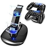 TNP PS4 Controller Charge Station - 2x USB Simultaneous Charger Dual Charging Dock Cradle Stand Accessory for Sony Playstation 4 Gaming Control with LED Indicator + Micro Cable (Black) [Playstation 4]