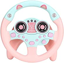Yinuoday Steering Wheel Toy with Lights Music, Cars Simulated Driving for Toddlers Portabl Pretend Play Toy Adsorption Driving Wheel for Kids Boys and Girls