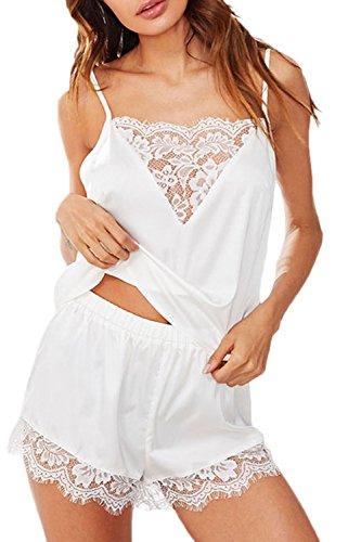 YACUN Pijama Mujer Verano Camisolas Ropa De Dormir De Encaje De Las Sleepwear Cortos Sets