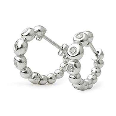 Sterling Silver Alternating Black and White Cubic Zirconia Hoop Earrings