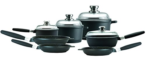 Amazon Eurocast Cookware Deluxe Set includes 1.2 Qt Sauce Pan (6.25'), 3.2Qt Stock Pot (8'), 7.4Qt Stock Pot (11'), 9.5' Saute Pan, 9.5', 8', 11' Fry Pan