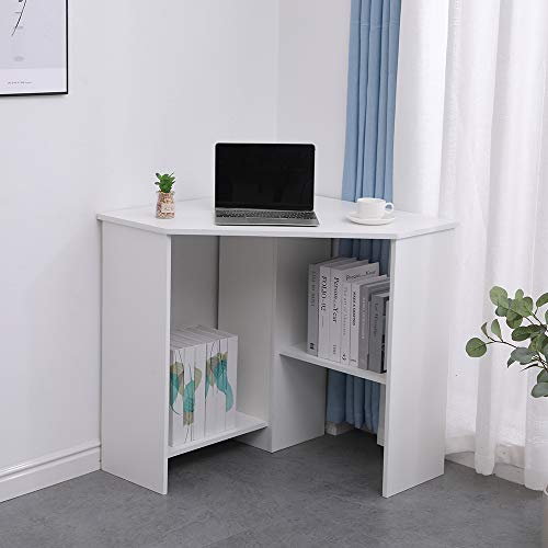Home Source Computer Desk PC Laptop Table Home Office Study Gaming, White, Corner