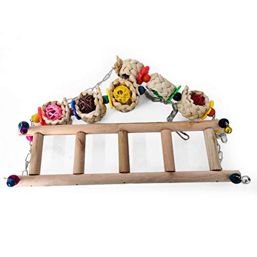 fansheng Escalera de pollo, columpio de madera, pollo, percha, pájaro, soporte para alojamiento de accesorios
