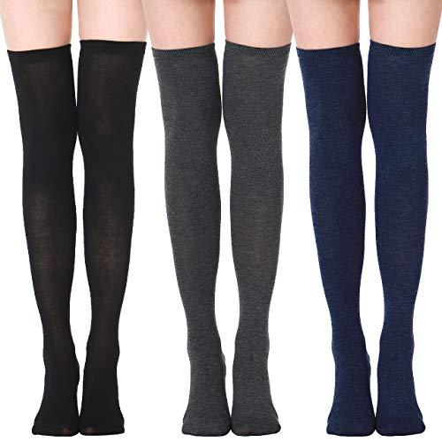 XDDIAS Kniestrümpfe, 3 Paar Over knee Strümpfe Damen Lange Socken Kniehohe Socke Oberschenkel Mädchen