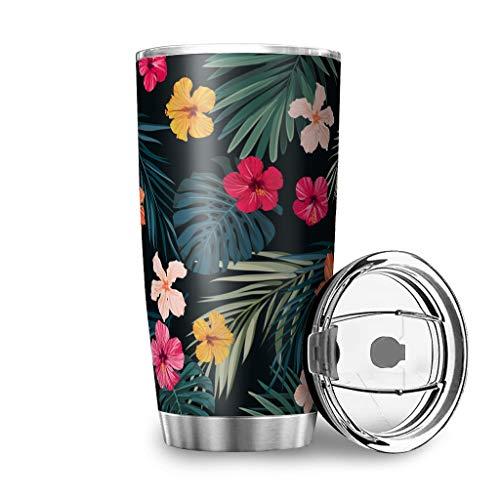 Twelve constellations Botella de agua de acero inoxidable con diseño de palmera de hibisco con aislamiento al vacío, taza con tapa transparente, color blanco, 600 ml