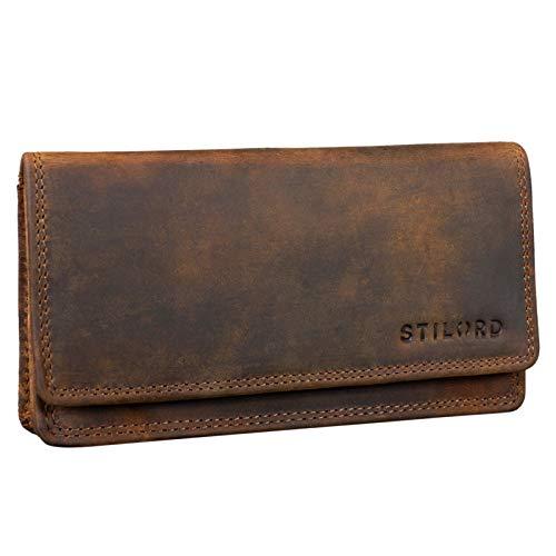 STILORD 'Lotta' Leder Geldbörse Frauen RFID und NFC Schutz Vintage Frauen Portemonnaie Quer mit Ausleseschutz in Geschenkbox, Farbe:mittel - braun