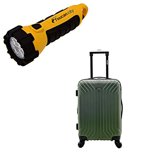 Toucan City LED Flashlight and Wrangler Auburn Hills 20 in. Expandable Hardside Rolling Carry-On Suitcase with Spinner Wheels WR-B6220-EX-340