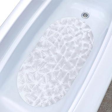 Wimaha Non-slip Bathtub Mat Eco-friendly PVC Anti-Bacterial Shower Mat Diamond Design for Bathroom, Machine Washable, 27 x 15 Inch, Clear