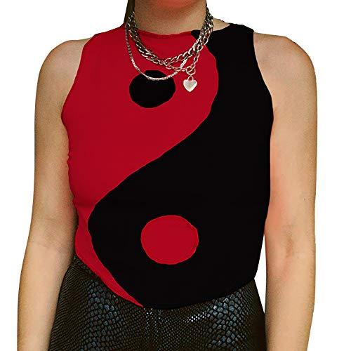 KuanDar clo Top De Cultivo De Yin Yang- Símbolo Equilibrio De Buena Suerte,Vestido Gótico Sin Mangas Negro Y Blanco De Punto,Yin &Yang Y2k Patchwork T-Camisa (L,Rojo)