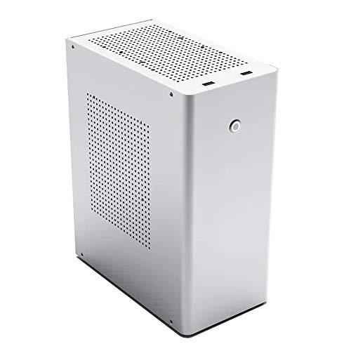 Ouuager-Home Caja de la PC del Ordenador Mini Chasis de Aluminio for HTPC Mini-ITX sesión vacía Caja de la computadora para la PC de Escritorio del Ordenador (Color : White, Size : One Size)