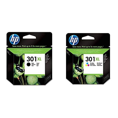 HP 301XL Cartuccia Originale ad Alta Capacità, 810 Pagine, per Stampanti a Getto di Inchiostro HP DeskJet 1050, 2540 e 3050, OfficeJet 2620 e 4630, ENVY 4500 e 5530, Confezione da 2, Nero/Tricromia