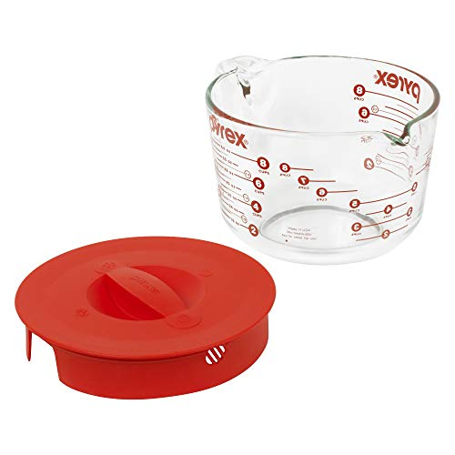 Pyrex 8-Cup Glass Measuring Cup with Lid