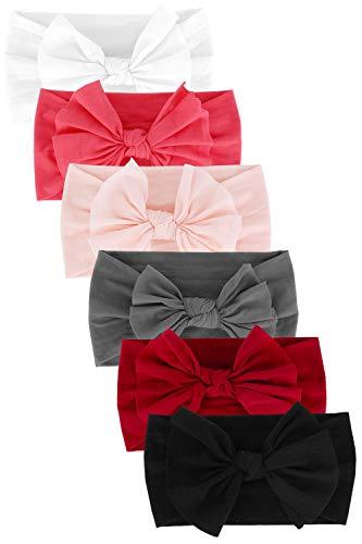 CBOO Extensible Bandeaux bébé Filles Naissance avec des arcs Bandeau bébé Fille Turban Bandeau à nœud noué à Cheveux pour bébés Filles Enfant Fille Accessoires (6Pièces-A)