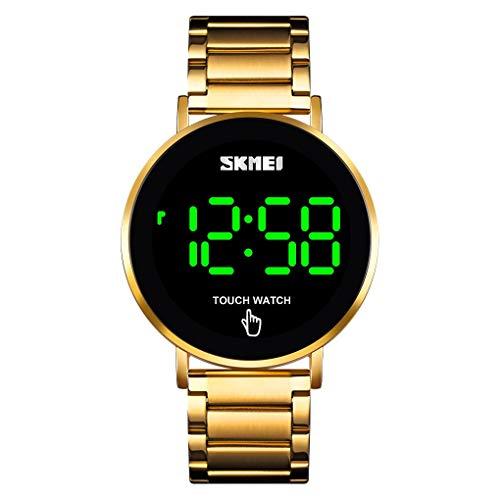 NEEKY Herren Armbanduhr Digital Black Fashion Kreative geometrische runde Edelstahl Herren Legierung Quarz Uhr Geschenk