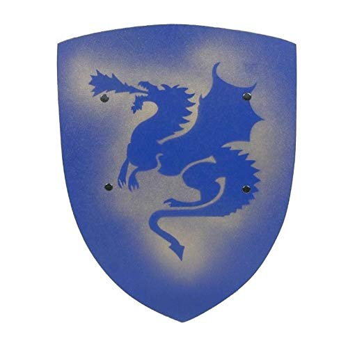 Vah - Bouclier Chevalier Enfant Dragon Bleu 42cm en bois poignée en cuir Déguisement