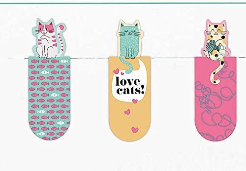 Magnetlesezeichen Love Cats 3er Set | Magnetisches Lesezeichen Katze | Charmant Illustriert