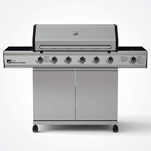 Fire Mountain Premier Plus 6 Burner Gas Barbecue | Premium Stainless Steel & Powerful Side Burner | Large 3834.6cm²…