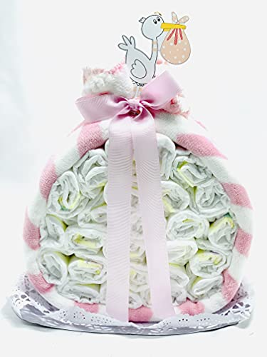 Tarta de pañales DODOT Cigüeña con manta, adorno cigüeña y peluche a conjunto - Regalo original para recién nacido - Tarta pañal niña con DEDICATORIA incluida y peluche (Rosa)