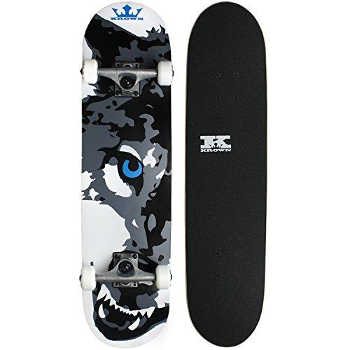 "Krown Wolf Skateboard, White, 7.5"""