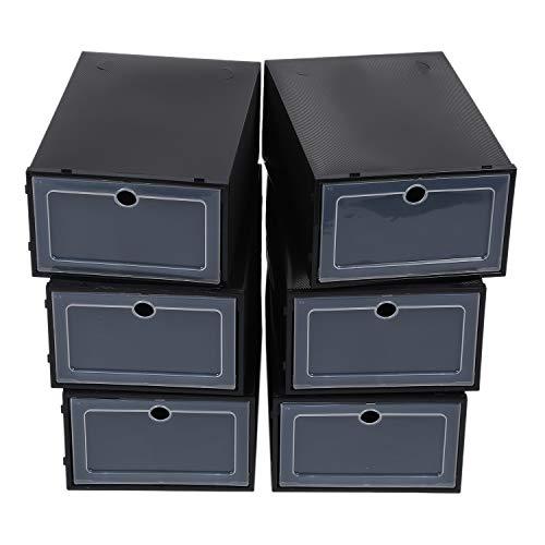 SODIAL Caja de Zapatos Transparente de 6 Piezas Dise?O de TiróN Organizador de Caja de Almacenamiento de PláStico Cajas de Almacenamiento de Zapatos a Prueba de Polvo para el Hogar Negro