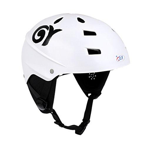 perfk Blanco 63-65cm XL Casco De Seguridad Ajustable Ligero con Ventilación De Aire Y Cubierta del Oído para Deportes Acuáticos Canoas Kayaking Wakeboard CE