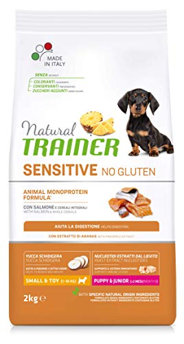 Natural Trainer Sensitive No Gluten - Cibo per Cani Small & Toy Puppy & Junior con Salmone e Cereali Integrali 2kg