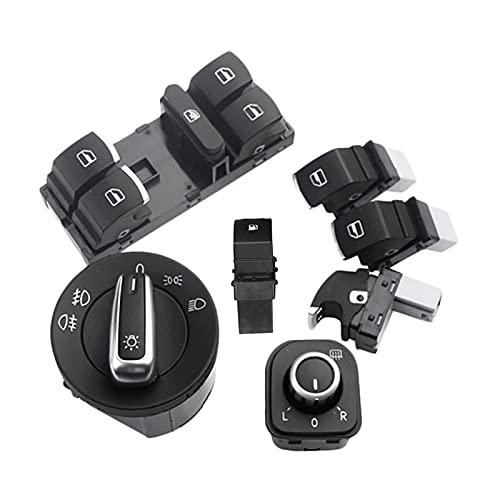 XINGXING WTQEE Store Conjunto de interruptores de Gas de Combustible para Faros de la Ventana de 7pc Fit para Golf MK 5 6 Jetta Passat Tiguan (Color Name : Black)