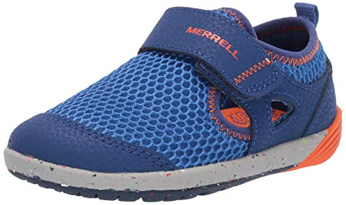Merrell Kids' Unisex M-Bare Steps H20 Water Shoe, Blue/Orange, 7.5 Wide US Toddler